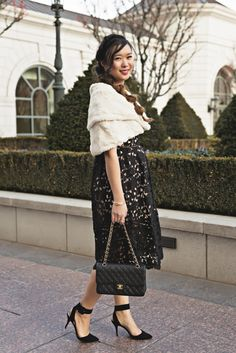 Lace Midi Dress and Fur Stole