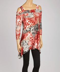 Look at this #zulilyfind! Red Jungle Off-Shoulder Sidetail Tunic - Women & Plus by Come N See #zulilyfinds