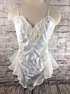 5f6ca6f258 Victoria s Secret Bridal Lingerie Teddy Sz Small Ivory Lace Ruffle Sequin