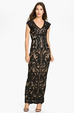 Sue Wong Embroidered Cap Sleeve Mesh Gown