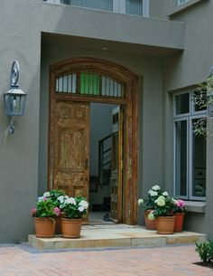Antique front door House, Interior, Home, Windows, Front Door, Interior Design, Exterior, Window Treatments, Doors