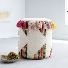 Striped Tassel Pouf