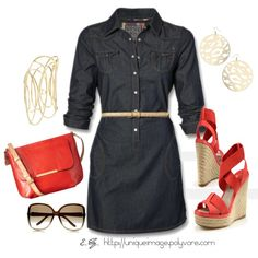 Denim Dress, created by uniqueimage on Polyvore