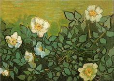 Wild Roses - Vincent van Gogh Wild Roses - Vincent van Gogh - Painted in April-May 1890 while in the Saint-Rémy Asylum - Current location: Van Gogh Museum, Amsterdam, Netherlands ...............#GT