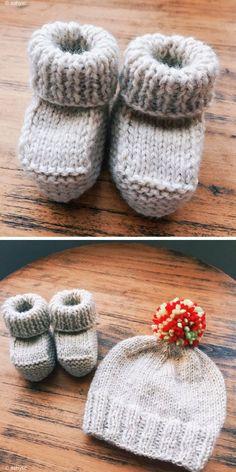 Newborn Booties – Free Pattern - down Baby Boy Knitting Patterns Free, Baby Booties Knitting Pattern, Baby Hats Knitting, Free Knitting, Knitting Needles, Knitted Baby Boots, Knit Baby Booties, Booties Crochet, Newborn Knit Hat