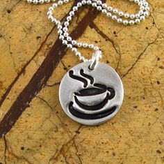 Silver Coffee Necklace Coffe Cup Necklace Gift by newhopebeading