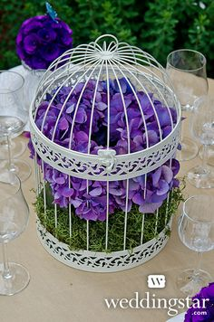 Classic Round Decorative Birdcage In Ivory, + Floral Pomanders