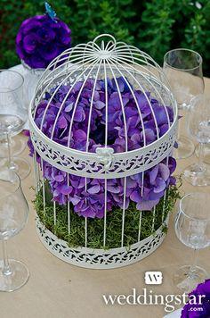 Classic Round Decorative Birdcage In Ivory, + Floral Pomanders {contemporary garden, wedding theme, wedding decorations, wedding reception, wedding centerpiece, purple, #birdcage}