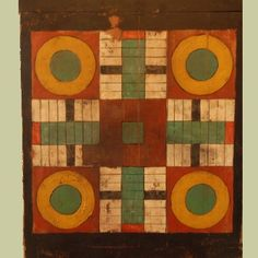 Parcheesi Board; Antique reproduction painted on antique wood; gameboard