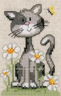 Supreme Best Stitches In Embroidery Ideas. Spectacular Best Stitches In Embroidery Ideas. Cat Cross Stitches, Cross Stitch Heart, Cross Stitch Animals, Cross Stitching, Cross Stitch Embroidery, Hand Embroidery, Cross Stitch Patterns, Loom Patterns, Embroidery Stitches Tutorial