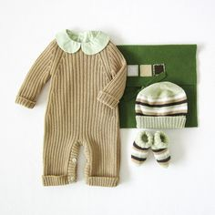 Knitted ribbed jumpsuit, hat and socks, in camel. 100% wool. Newborn.. $100.00, via Etsy. tenderblue