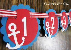Sailing Boy Collection: Just Born/0-12 mos nautical first birthday photo banner. Nautical Birthday. Picture Banner. Pacific and Red.