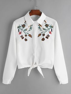ROMWE Women White Flower Embroidered Tie Front Shirt Autumn Casual Womens Tops and Blouses Lapel Long Sleeve Shirt Girls Fashion Clothes, Teen Fashion Outfits, Trendy Outfits, Summer Outfits, Girl Outfits, Fashion Dresses, Cute Outfits, Clothes For Women, Mein Style