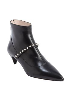 Miu Miu black leather studded detail ankle booties