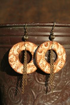 Earthy Bohemian Bliss Ceramic Earrings by CaliforniaSoulshine, $30.00