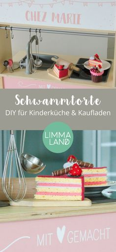 Merchandise Shop Accessories: Sponge cake for the play kitchen - Kinder - Baby Diy Pot Mason Diy, Mason Jar Crafts, Mason Jars, Diy Kitchen Projects, Diy Projects, Childrens Kitchens, Diy Bebe, Diy Hanging Shelves, Maila