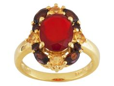 Stratify(Tm) 2.46ctw Oval Red Ethiopian Opal,Citrine, Vemelho Garnet(Tm) 18k Gold Over Silver Ring