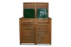 WOODEN DOUBLE BIN STORAGE CUPBOARD SET WITH 1 x 240 LITRE WHEELIE BIN | eBay