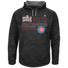 Men's Chicago Cubs Majestic Black 2016 World Series Champions Fierce Streak Fleece Pullover Hoodie