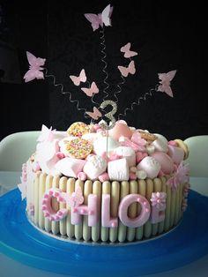 My daughters birthday cake! Sweetie Birthday Cake, Sweetie Cake, 3rd Birthday Cakes, Torta Candy, Candy Cakes, Chocolate Finger Cake, White Chocolate, Funfetti Kuchen, Marshmallow Cake