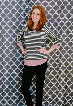 This top in my closet as well. Market & Spruce gray and white top with light burgundy cuff and bottom detail White Tops, Grey And White, Stitch Fix, Layered Look, Cute Outfits, Style Inspiration, Lady, My Style, Burgundy