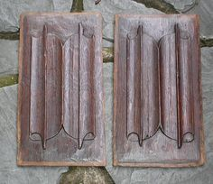 £325 ~ Pair 16th Century carved oak linenfold panels by TheMinervaGallery A fine pair of 16th Century oak linenfold panels in good condition. These early panels are simply carved compared to more elaborate Tudor types. They would originally have been installed in wall panelling or a piece of furniture in a high status house. http://minervacompany.uk/antiques-for-sale/