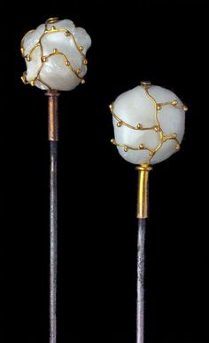 This is not contemporary - image from a gallery of vintage and/or antique objects. THEODOR FAHRNER Hat Pins Gold Pearl