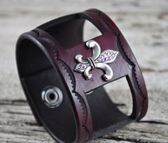 Fleur De Lis Leather Cuff by Northernleather on Etsy, $64.95
