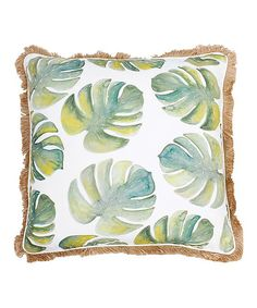 Green Frances Watercolor Beaded Feather Throw Pillow