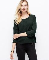 Cozy Cropped Pullover - Casually cool with a fabulous cropped silhouette, it's easy to see why this wool infused style is destined to be a season favorite. Scoop neck. 3/4 sleeves. Drop shoulders. Ribbed neckline, cuffs and hem.