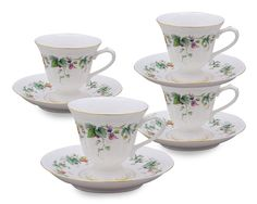 Amazon.com: Gracie China Berry Yard Porcelain 8-Ounce Tea Cup and Saucer, Set of 4: Teacup With Saucer: Kitchen & Dining