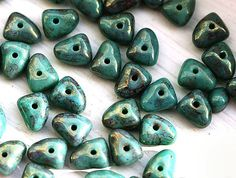 Turquoise green czech beads, rustic picasso finish with luster, glass spacers, tringle - 5x7mm - 25Pc - 0605