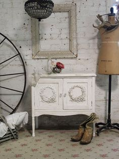 Painted Cottage Chic Shabby Tea Stained Server by paintedcottages, $130.00