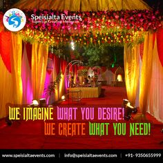 """""""We imagine what you desire, We create what you need"""" #speisialtaevents # events #decor #decoration #weddingplanner #evenorganizer Visit Our Website: www.speisialtaevents.com For Booking Call:+91-9350655999, +91-9350455999"""