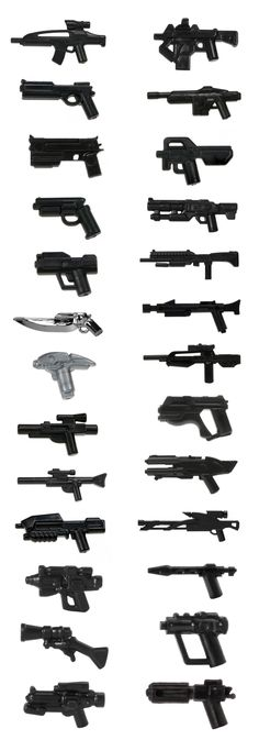 LEGO minifigure compatible guns from pop culture LEGO Minifigur kompatible Waffen aus der Popkultur Robot Lego, Lego Mecha, Lego Lego, Lego Ww2, Lego Army, Lego Military, Lego Minifigure, Lego Design, Legos