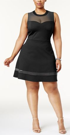 Plus Size Mesh-Yoke Fit & Flare Dress