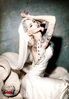 tattooed bride - Copyright My Boudoir. Model Natalia Fox.