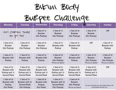 Supplement your workouts throughout May with this easy to follow, progressive routine chock full of BURPEES! Get bikini ready! #fitness #workout #monthlychallenge #heandsheeatclean