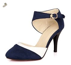 80fa9f12082fd0 Aisun Women s Elegant Pointed Toe Ankle Wrap Buckled Dress D Orsay Stiletto  High Heels Pumps. Blaue SandalenBlaue SchuheSandalen ...