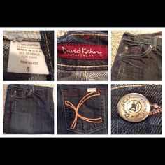 David Khan Designer Jeans David Khan designer Jeans Dark Wash.  Size 6.  Comfortable because they are 98% Cotton and 2% Polyurethane. The Inseam is 29.5. Cut 790.  In Good condition with normal wear. Offers through the offer button ONLY. Non Smoking home. David Kahn Jeans