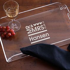 Mr. & Mrs. Personalized Serving Tray - great wedding or anniversary gift idea! #Wedding #Anniversary