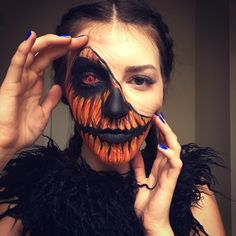 Halloween makeup Inspo Pumpkin makeup @tangledandteasedhair