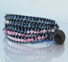 Pink and Navy on Navy Leather. Beaded Leather Wrap Bracelet.