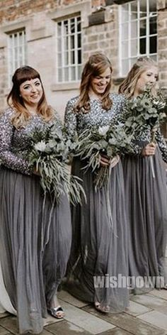 Long Sleeves Tulle Sequin Long Wedding Party Bridesmaid Dresses - July 27 2019 at Champagne Bridesmaid Dresses, Bridesmaid Dresses With Sleeves, Sequin Bridesmaid Dresses, Bridesmaid Gifts, Party Dresses With Sleeves, Wedding Party Dresses, Long Dresses, Modest Wedding, Tulle Wedding