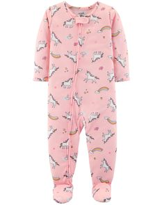 Add whimsical charm to her bedtime with these girls' Carter's unicorn-printed footed pajamas. In pink. Baby Girl Pajamas, Toddler Pajamas, Carters Baby Girl, Toddler Girl, Baby Girls, Toddler Dress, Baby Girl Fashion, Toddler Fashion, Toddler Outfits