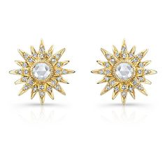 14KT Yellow Gold Diamond Vintage Style Starburst Stud Earrings ($1,050) ❤ liked on Polyvore