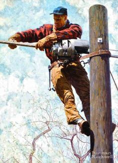 """Norman Rockwell: """"The Lineman"""" - (1949)                                                                                                                                                      More"""