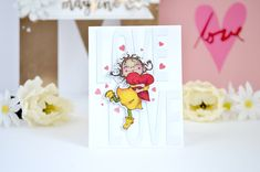 clean and simple cardmaking featuring Penny Black stamps and dies- click through for complete supplies and instructions Penny Black Cards, Penny Black Stamps, Alcohol Markers, Love Cards, Cardmaking, Valentines, Valentine Cards, Card Stock, Place Card Holders