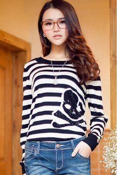 Skeleton Stripe Pullover, iAnyWear
