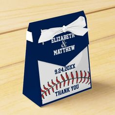 Baseball Ball Player Fan Wedding Thank You Party Favor Box This thank you favor box features a baseball with red stitching and blue text templates. Great for an baseball player, fan or coach. Perfect for the baseball player, fan, or coach in your life. Can be used for wedding shower, wedding or anniversary. #baseball #wedding #sports